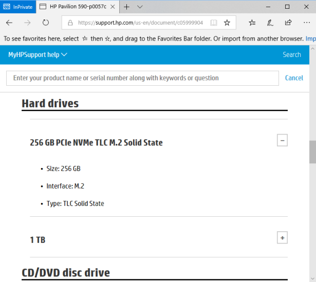 hp 590-p0057c no 256GB ssd
